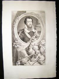 Houbraken C1750 Folio Antique Portrait. Robert Devereux, Earl of Essex