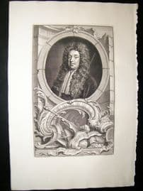 Houbraken C1750 Folio Antique Portrait. Sidney Godolphin, Earl of Godolphin