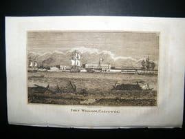 India 1818 Antique Print. Fort William, Calcutta