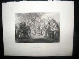 India 1847 Antique Print. The Tiger Hunt