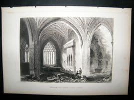 Ireland: 1860 Antique Print. Interior of Holy Cross Abbey