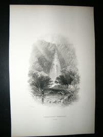 Ireland: 1860 Antique Print. Powerscourt Waterfall, Wicklow