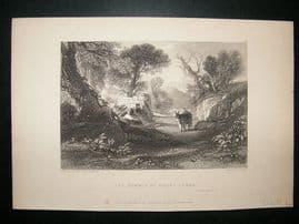 Israel: 1836 Steel Engraving, Mount Tabor Antique Print