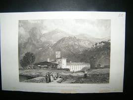 Italy: 1832 Steel Engraving, Convent of Vallambrosa