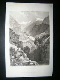 Italy: 1832 Steel Engraving, Fort De Bard, Aosta Valley