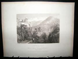 Italy 1834 Antique Print. Temple of Vesta, Tivoli
