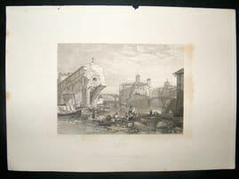 Italy: 1834 Steel Engraving, Ponti Rotti Print