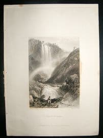 Italy: 1834 Steel Engraving, Terni Falls Print