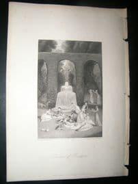 Italy 1838 Antique Print. Garden of Boccacio