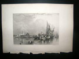 Italy 1838 Antique Print. Murano, Venice