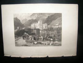 Italy 1838 Antique Print. Verrex, Aosta Valley