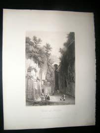Italy 1847 Antique Print. Grotta di Posilipo