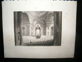 Italy 1847 Antique Print. Interior of St. Peters, Rome