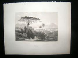 Italy 1847 Antique Print. Mount Vesuvius, Naples