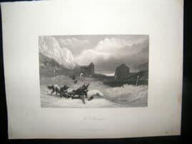 Italy 1847 Antique Print. Mt. St. Bernard, Aosta Valley