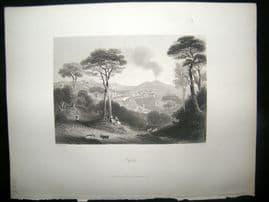 Italy 1847 Antique Print. Naples