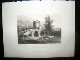 Italy 1847 Antique Print. The Tomb of Plautius Lucanus