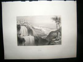 Italy 1847 Antique Print. Tivoli