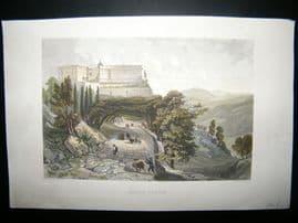 Italy C1860 Antique Hand Col Print. Monte Casino