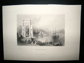 Italy C1860 Antique Print. Arch of Trajan, Ancona