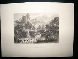 Italy C1860 Antique Print. Convent of the Benedictines, Subiaco