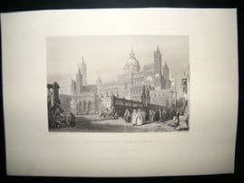 Italy C1860 Antique Print. The Cathedral (Madre Chiesa) at Palermo