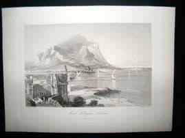 Italy C1875 Antique Print. Monte Pellegrino, Palermo, Sicily