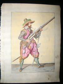 Jacob de Gheyn 1608 Fine Hand Coloured Musketeer Print 11
