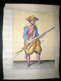 Jacob de Gheyn 1608 Fine Hand Coloured Musketeer Print 19