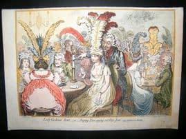James Gillray 1851 Folio HC Print. Lady Godina's Rant. Cards Gambling Caricature