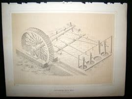 Japan Perry Expedition 1856 Antique Print. Japanese Rice Mill at Simoda Nippon