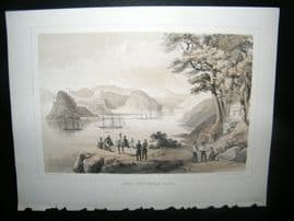 Japan Perry Expedition 1856 Antique Print. Simoda from Vandalia Bluff