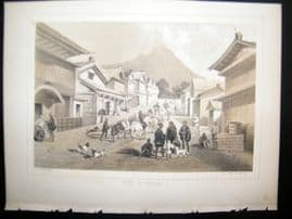 Japan Perry Expedition 1856 Antique Print. Street In Hakodai