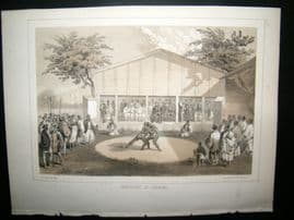 Japan Perry Expedition 1856 Antique Print. Sumo Wrestlers At Yokuhama