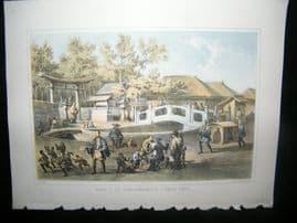 Japan Perry Expedition 1856 Print. Bridge of Cut Stone & Temple Entrance, Simoda