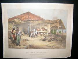 John Luard Views in India C1832 Hand Col Print. Bazaar-Barhampore