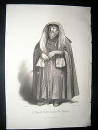 Judaica 1860 Antique Print. Jewish Rabbi dressed for Prayers