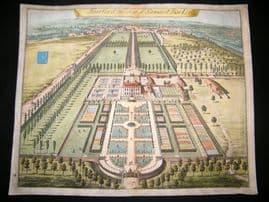 Kip Gloucestershire 1712 Folio Hand Col Print. Fairford the Seat of Samuel Barker