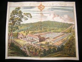 Kip Gloucestershire 1712 Folio Hand Col Print. Flaxley, seat of Mrs Bovey