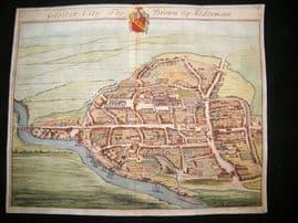 Kip Gloucestershire 1712 Folio Hand Col Print. Glouster City, Birds Eye View