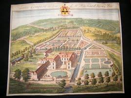 Kip Gloucestershire 1712 Folio Hand Col Print. Little Compton, Richard Howe