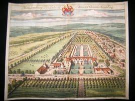Kip Gloucestershire 1712 Folio Hand Col Print. Maugersbury, Edmund Chamberlain