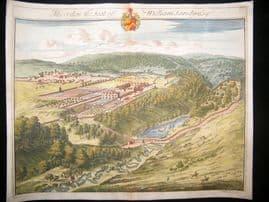 Kip Gloucestershire 1712 Folio Hand Col Print. Miserden, William Sandy's