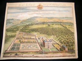 Kip Gloucestershire 1712 Folio Hand Col Print. Stoke Bishop, Thomas Cann