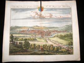 Kip Gloucestershire 1712 Folio Hand Col Print. West Prospect of Gloucester City
