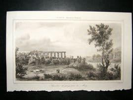 L'Universe C1850's Antique Print Aqueduct at Metz, France