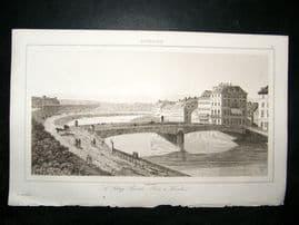 L'Universe C1850's Antique Print Bridge in Vienna, Austria