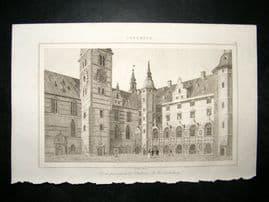 L'Universe C1850's Antique Print Chateau of Frederiksborg