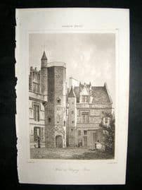 L'Universe C1850's Antique Print Clugny Hotel, France