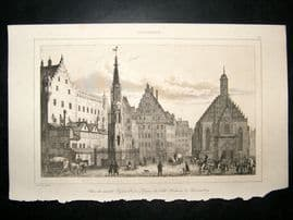 L'Universe C1850's Antique Print Nuremberg, Germany